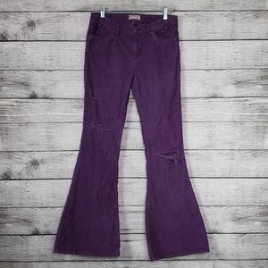 Free People Purple Distressed Corduroy Flares